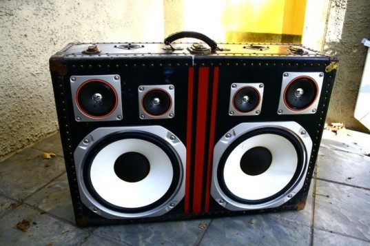 green design, recycled, design, eco-design, BoomCase, Mr. Simo, creative re-use, up cycling, adaptive re-use, boom boxes, vintage suitcases, design, art, music