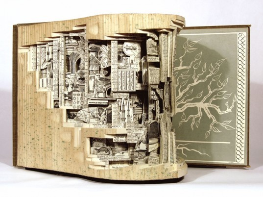 Brian Dettmer, Eco art, recycled materials, book art, books, sculpture, Kinz and Tillou Fine Art