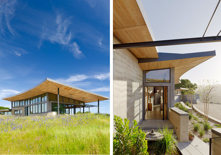 The caterpillar house is a modern rammed earth ranch house for Feldman architecture