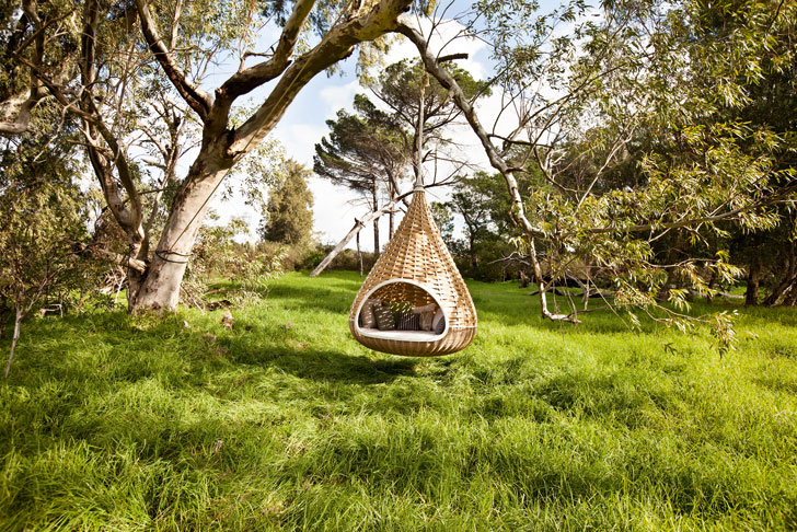 dedon s zero waste nest rest is a woven cocoon for snuggling in the wild dedon 39 s reyclable. Black Bedroom Furniture Sets. Home Design Ideas