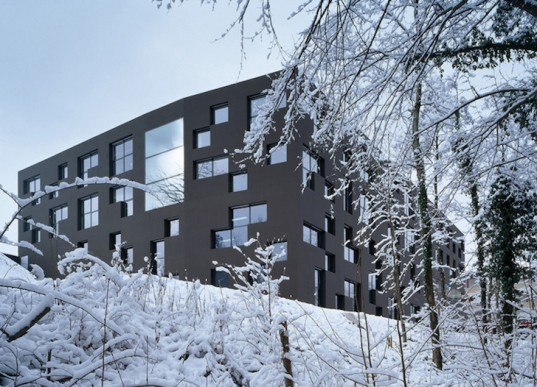 ESGE Secondary School in Switzerland, IPAS, education, green design, eco-design, sustainable design, inspired by nature, Tetris, pixelated, daylighting, humidity, forest, natural ventilation