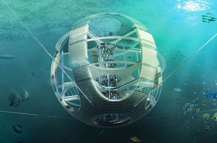 Spherical Underwater 'Fish Tower' Skyscraper Recycles Debris from the Great Pacific Garbage Patch