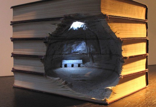 green design, eco design, sustainable design, Guy Laramee, book sculptures, recycled art, recycled books, Brian Dettmer, The Great Wall, Biblios