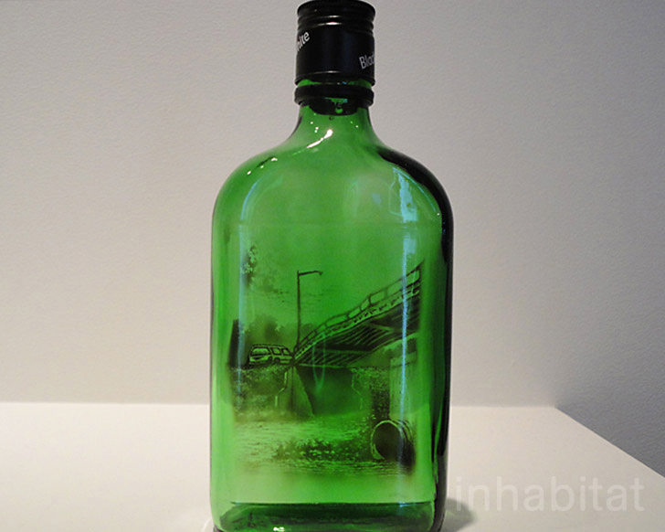 jim dingilian creates detailed scenes inside recycled bottles with
