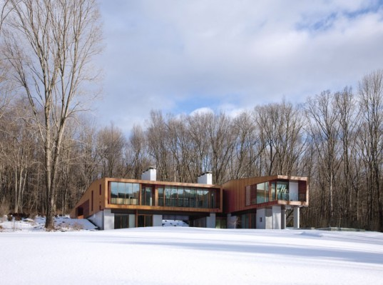 green design, eco design, sustainable design, Kent Falls State Park, Bridge House, Cantilevered home, Joeb Moore, Housatonic River, louvered facade, radiant heating, sustainable home, energy efficient home