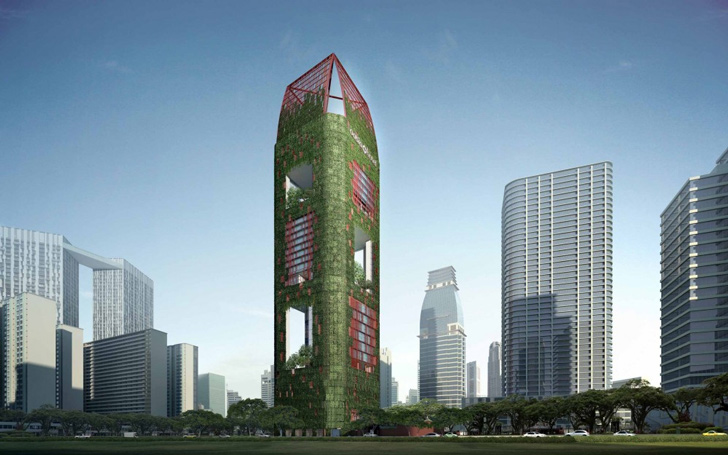 Oasia Downtown By Woha Places Tropics In The Heart Of