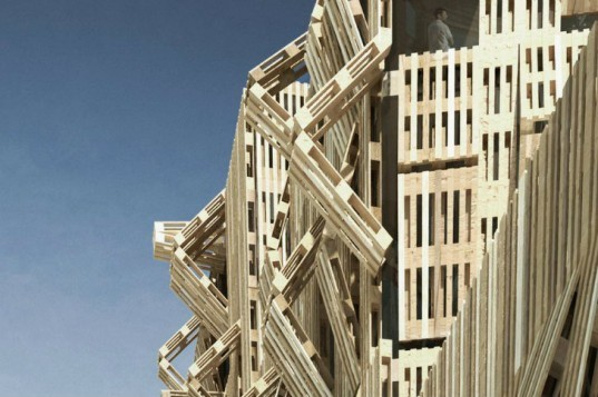 Shipping Pallet Facade, Stephane Malka, shipping pallets, reskinning, paris, student housing, parasitic architecture