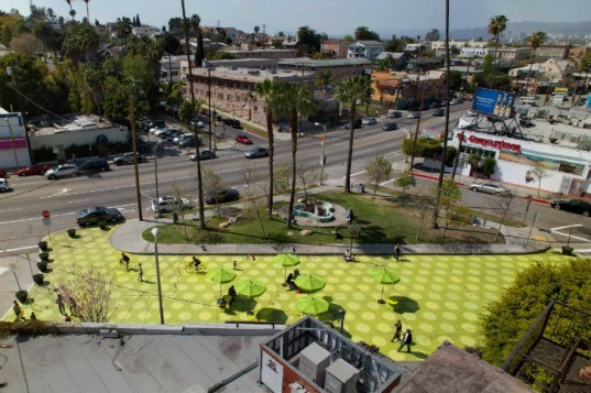 Sunset Triangle Plaza, Rios Clementi Hale Studios, pedestrian plaza, urban design, urban park, la, silver lake, streets for people