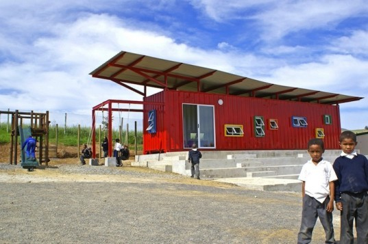 Tsai Design, recycled shipping containers, Vissershok, container classroom, social design, cape town, south africa, 2014 design capital of the world, green design, sustainable design, eco design, natural ventilation, woolworths, vertical garden, vegetable garden