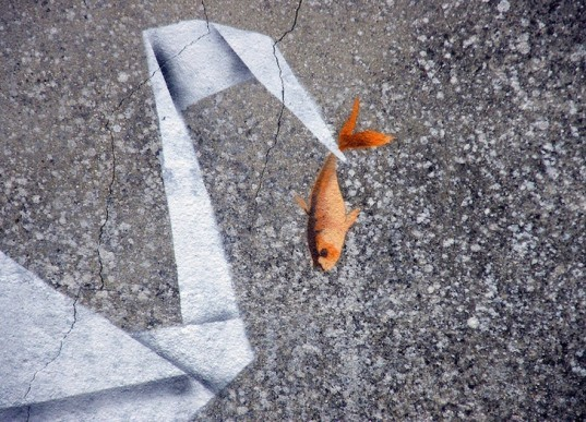 Banksy, street art, graffiti, art, origami, crane, goldfish, green design, sustainable design, UK, eco-design, Chinese mythology