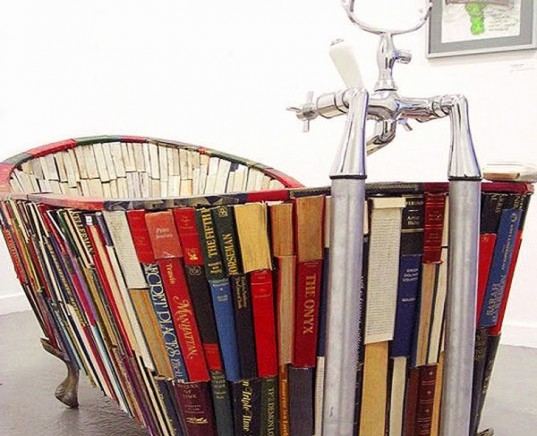 bath of knowledge, vanessa mancini, book bathtub, books sculpture, recycled book art, artwork literature, sustainable art,Recycled Materials