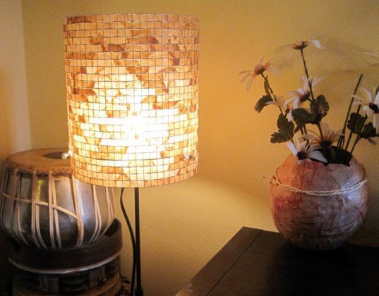 lampada, coffee filter lamps, recycled filter lamps, reused coffee filters, recycled materials, transformed coffee filters, light fixtures, green lights, sustainable lamps