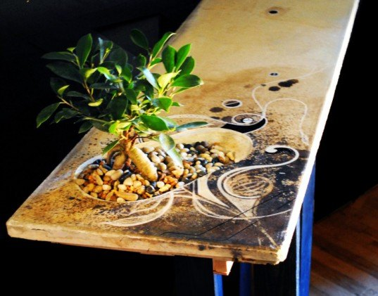 mdc interiors, bonsai tree table, living table, bonsai tree, sustainable design, green design, sustainable furniture, green furniture, recycled materials, recycled furniture, living furniture