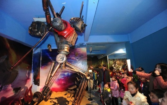 """transformers theme park"", transformers, zhu kefeng, ""mr. iron robot"", jiaxing, china, sculpture, recycled metal"