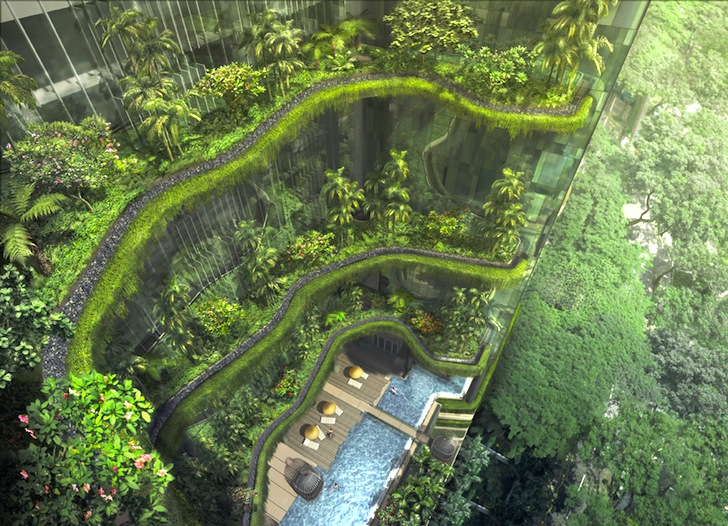 Groundbreaking Park Royal Tower Is Draped With Curtains Of Greenery In Singapore