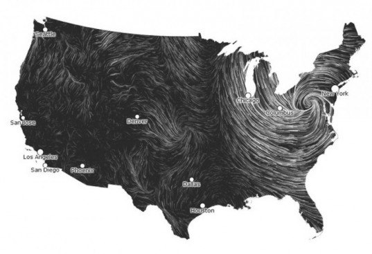 hurricane sandy, wind power map, HINT.FM, wind map, real time wind map, graphic visualization of wind