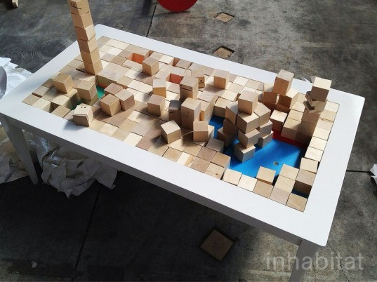 Jessica Arosenius, block.210, coffee table, living room, wood block, play, children, child culture design, milan design week
