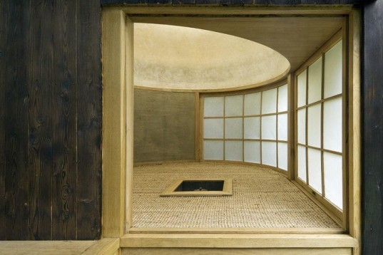 Tea House in the Garden, Vojtech Bilisic, A1, Japanese tea ceremony, matcha, tea, burnt wood, paper ceiling, round shelter, Prague, Sustainable Building, Green Materials, Architecture