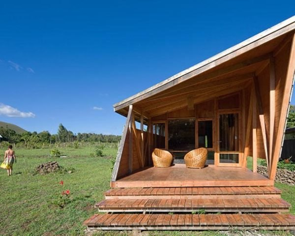 Moreava Cabins, AATA Arquitectos Asociados, Easter Island, cross-ventilation, solar panels, solar collectors, timber, sustainable accomodation, Prefab Housing, Eco Tourism, energy efficiency