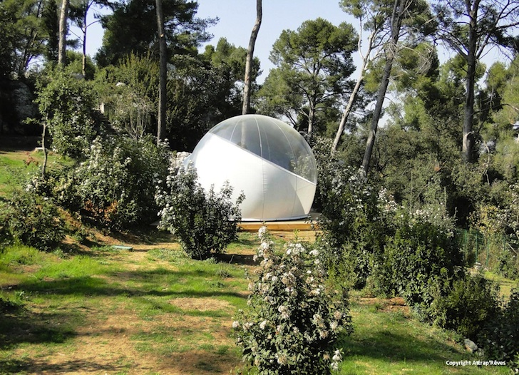 Attrap 39 r ves bubble hotel is made of bubbletree 39 s transparent pop up tents inhabitat green Attrap reves hotel
