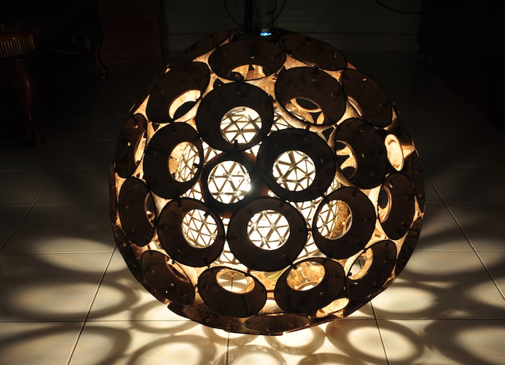 Ed Chew S Core Is A Quirky Lamp Made From Recycled Coconut