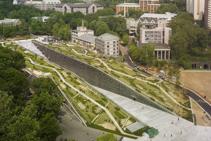 Ewha woman s university is a green roofed constructed for Female landscape architects