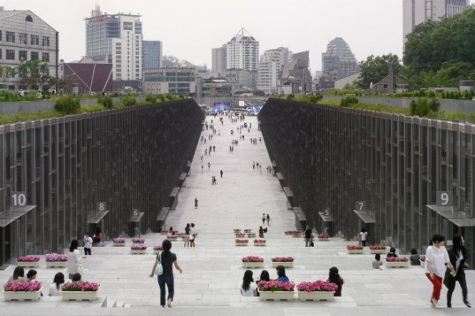 EWHA Womans University, Dominque Perrault Architecture, green roof, seoul, south korea, underground building, eco university