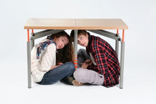 The Earthquake-Proof Table, Arthur Brutter, Ido Bruno, Bezalel Academy, earthquake furniture, disaster relief designs, emergency relief designs, school desks, life-saving designs