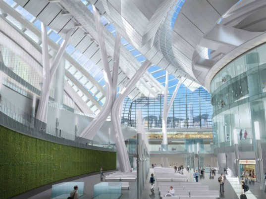 Express Rail Link West Kowloon Terminus, Aedas, Aecom, china high speed rail, green roof, train station, hong kong, high speed rail