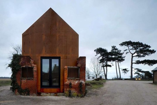 Haworth Tompkins, dovecoat, Dovecote Studio, prefab shelter, suffolk, Aldeburgh Music School, victorian ruins, red bricks, Prefab Housing, Green Lighting, Sustainable Building