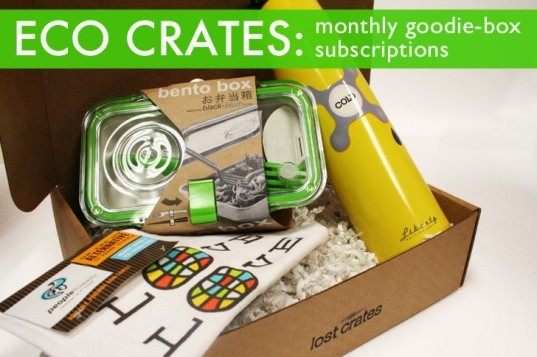 Lost Crates Eco Crate Package, with Inhabitat Discount, eco friendly gift box, eco gift box, eco goodie box, eco care package, designer care package, green care package, design care package, design goodie box