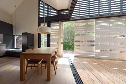 Green renovation, Green Lighting, architecture, MAKE Architects, House Reduction, australia, small spaces, flexible spaces, multifunctional spaces, natural light, shutters, sliding walls