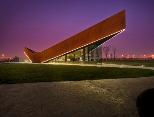 green design, eco design, sustainable design, Ministry of Design, Vanke, Triple V Gallery. Cor-ten Steel, glass curtain, China, Pitched roof architecture, Dong Jiang Bay