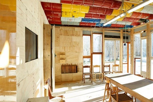 "Raumlabor, Officina Roma, ""RE-cycle. Strategies for Architecture, City and Planet"", rome, italy, recycled materials, temporary architecture, recycled oil barrels, recycled bottles, recycled wood, recycled windows, architecture, art, green Interiors, Recycled Materials"