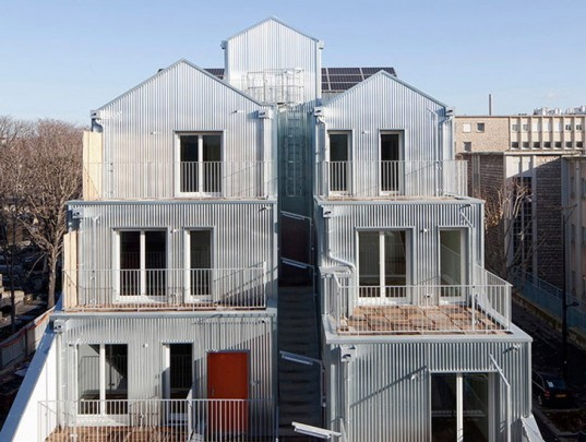 Stéphane Maupin, corrugated steel, Paris housing, urban social housing, French green building,