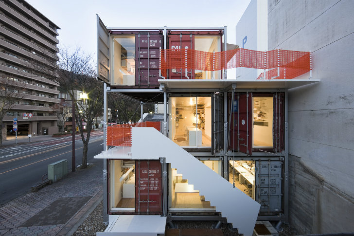 container office design. stacked shipping container sugoroku office pops up in japan design