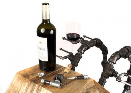 In Vino Vitae: In Wine There Is Life, akke functional art, axel yberg, sustainable wine rack, erin zammett ruddy, reclaimed furniture design, reused plumbing fittings, recycled materials, elaborate art