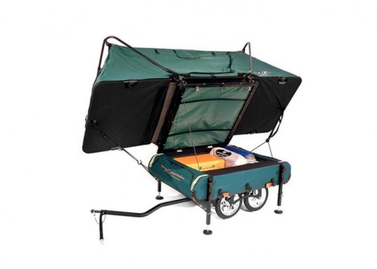 midget bushtrekka, kamp rite, bike trailer camping, mini camper bicycle, sustainable travel, cycling, pop-up camper