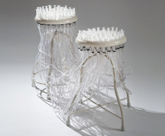 jamie wolfond, communicable seats, stool, medical, syringe, RISD, Milan furniture fair, risd, risd transformations, green design, sustainable design, recycled materials, sustainable materials, green furniture, sustainable furniture, rhode island school of design
