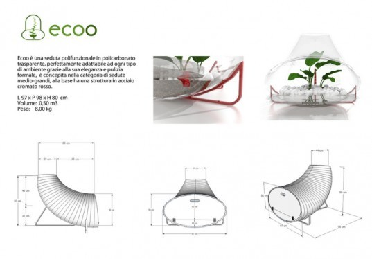 ecoo chair, indoor terrarium, italian design, fiore arcangelo, terrarium chair