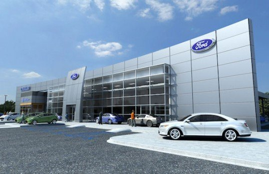 Ford, dealership, modern ford dealership, green ford dealership