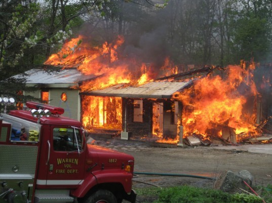 House on fire, fire, fire truck, burning house, flames