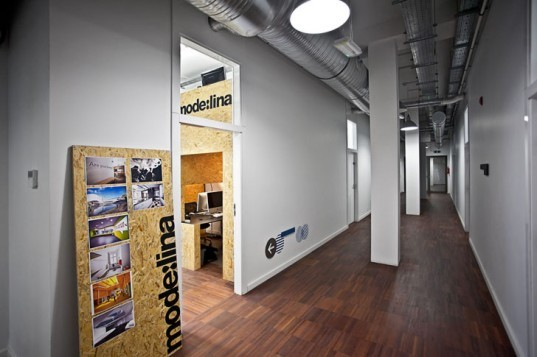 green design, eco design, sustainable design, plywood, Mode:Lina, Concordia Design, converted loft, coworking