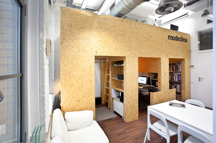 Mode lina 39 s new coworking office maximizes space with for Design office y z