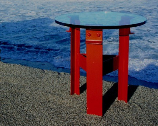 "richard bulan, ""golden gate bridge furniture company"", custom furniture, side table, desk lamp, recycled materials, golden gate bridge"