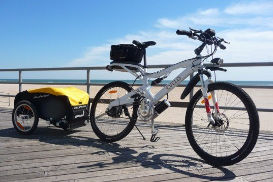 aurora electric bike, evelo bike, electric bicylce, bike and trailer, electric bike tour