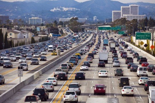 Los Angeles Freeway, Traffic Jam, Heavy Traffic, Carbon Emissions, Fuel Efficiency