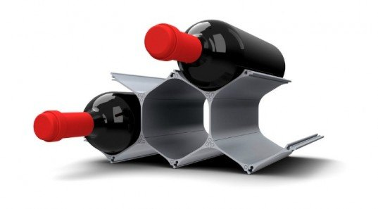 winehive, John Paulick, eco design wine rack, recycled aluminium wine rack, hive-inspired wine rack, green design, eco wine storage
