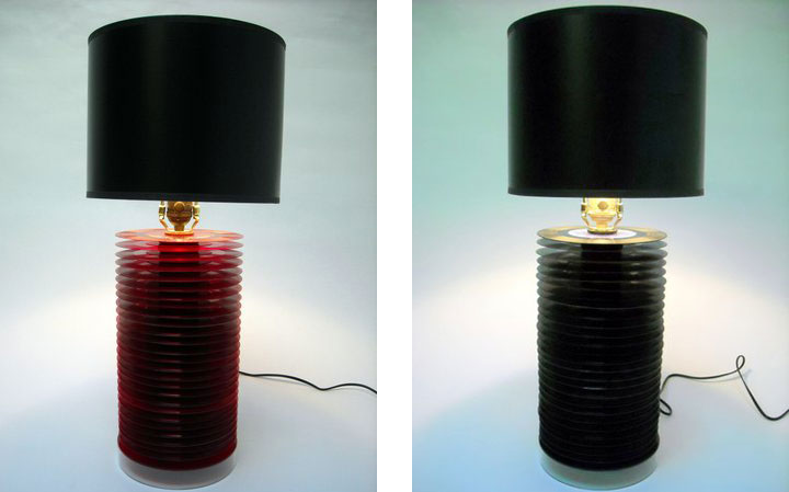 Old vinyl records transformed into chic lamps after the for Lamp light records