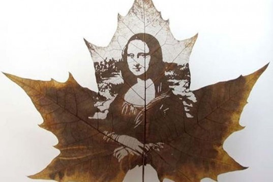 Foliages Art, Leaves carving, Ephemeral Pictures, Chinese art, Mona Lisa, ephemeral art
